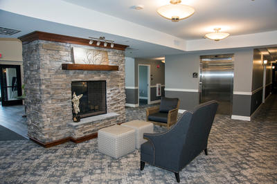 Fireplace and Lobby Elevator